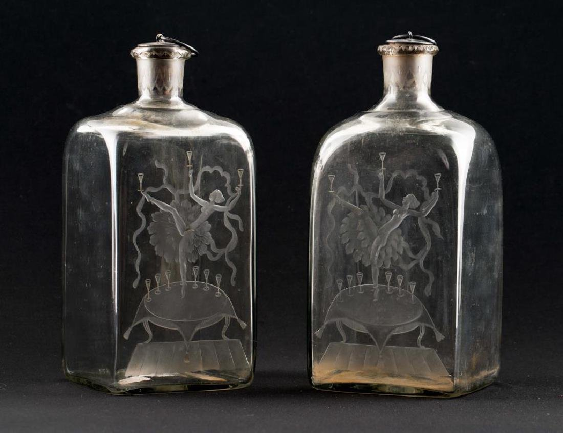 RARE PAIR OF ORREFORS ETCHED ART DECO DECANTORS - 8