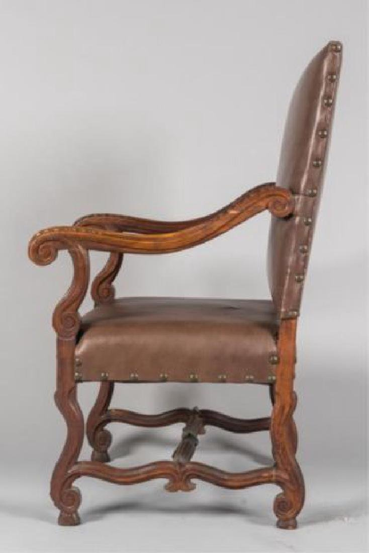 PAIR of FLEMISH STYLE CARVED LEATHER ARMCHAIRS - 10