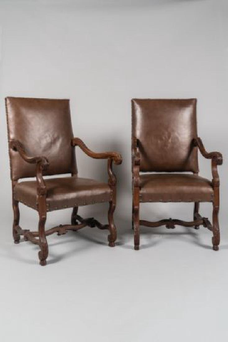 PAIR of FLEMISH STYLE CARVED LEATHER ARMCHAIRS