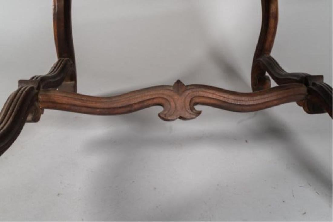 PAIR of FLEMISH STYLE CARVED LEATHER ARMCHAIRS - 3