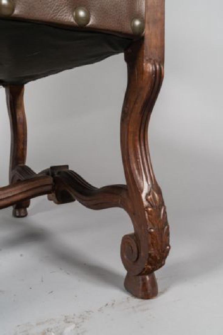 PAIR of FLEMISH STYLE CARVED LEATHER ARMCHAIRS - 4