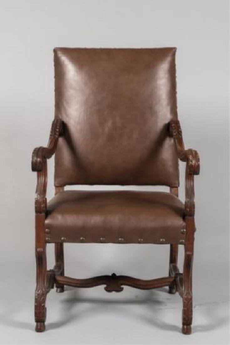 PAIR of FLEMISH STYLE CARVED LEATHER ARMCHAIRS - 6