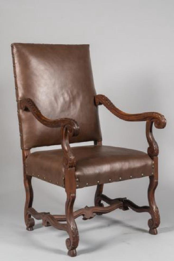 PAIR of FLEMISH STYLE CARVED LEATHER ARMCHAIRS - 7
