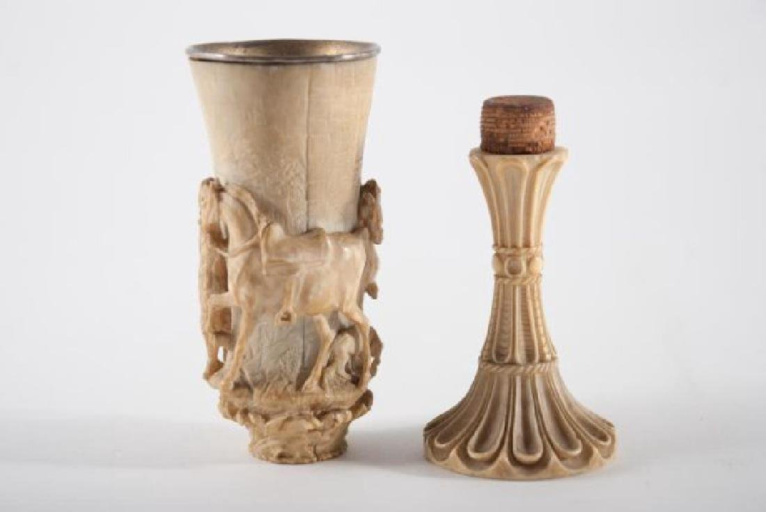 (17th c) CONTINENTAL CARVED WINE CUP - 2