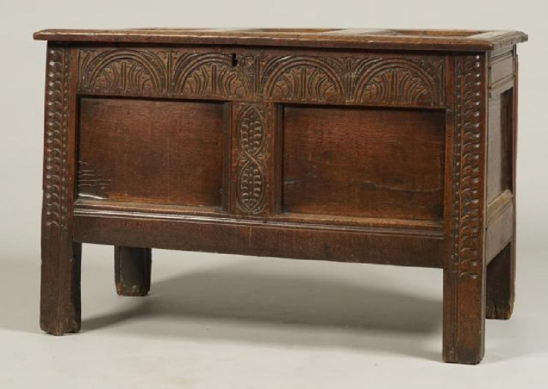 (17th c) JOINED OAK BLANKET CHEST