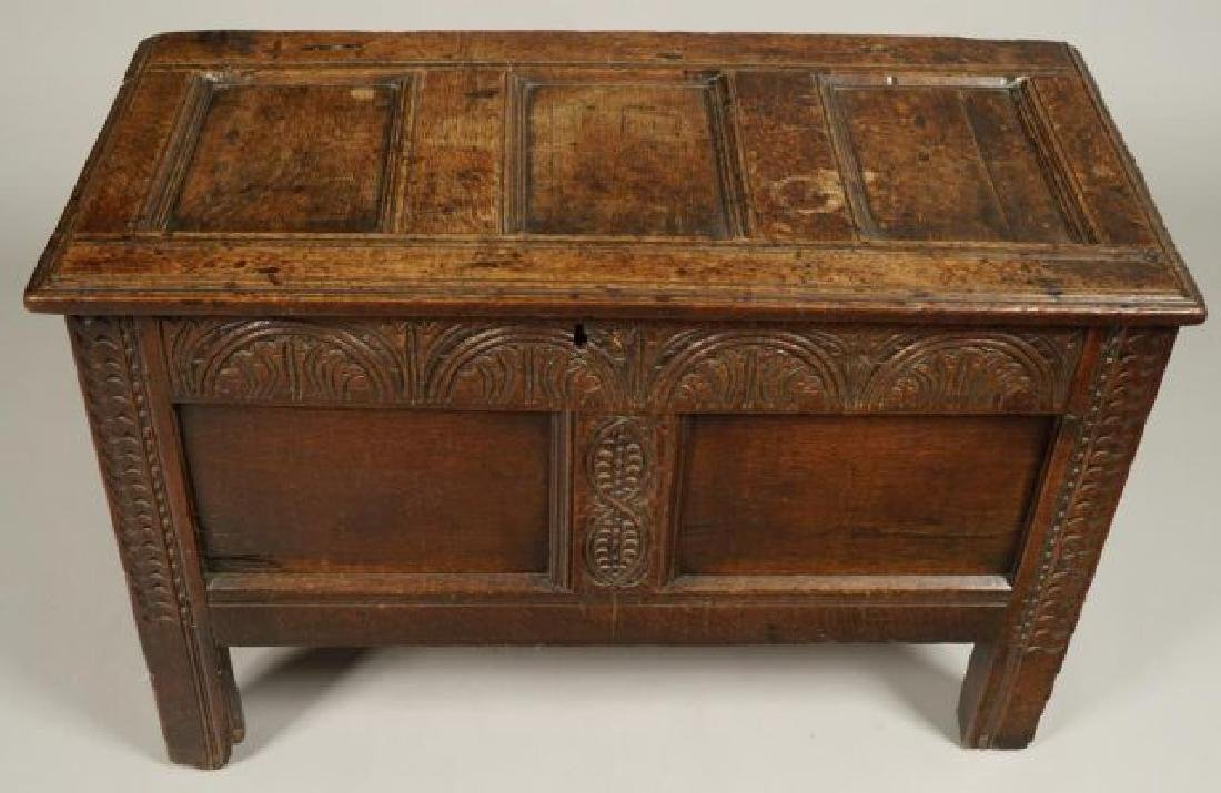 (17th c) JOINED OAK BLANKET CHEST - 9