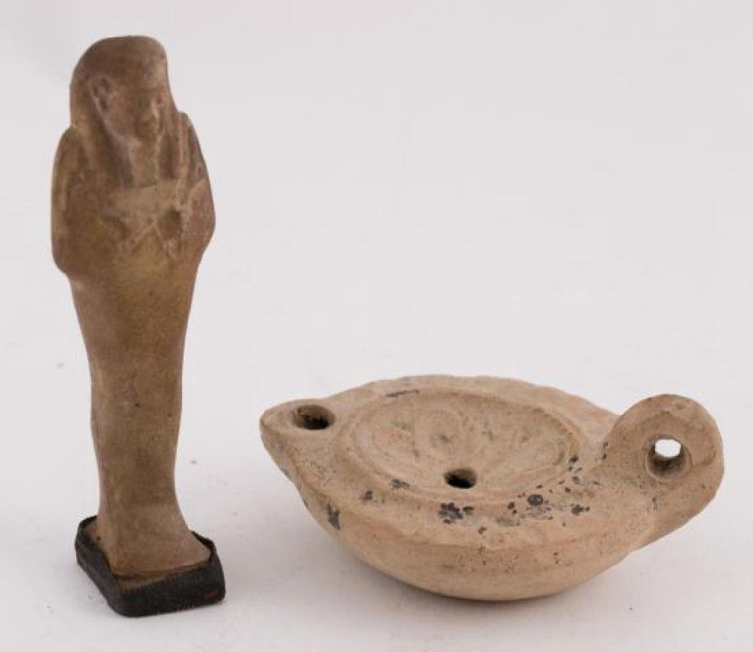 EGYPTIAN CERAMIC SARCOPHAGUS & FLUID LAMP