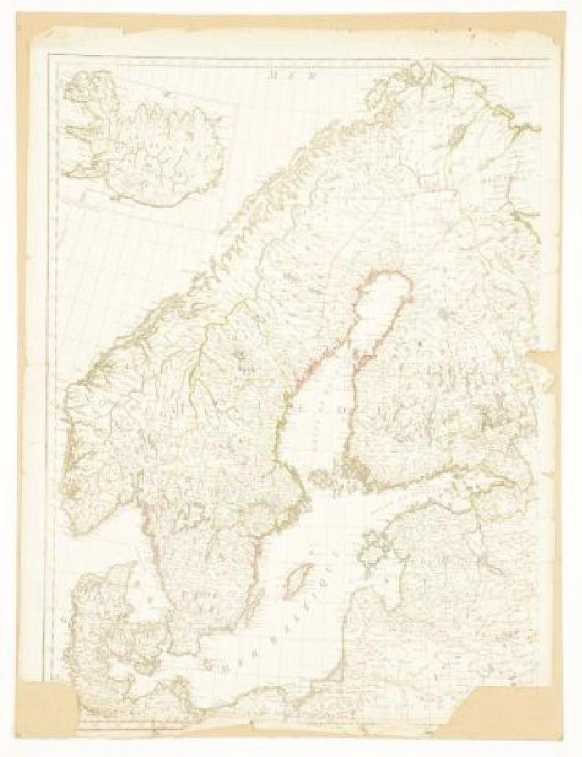 (19th c) FRENCH MAP OF ICELAND AND SCANDANAVIA