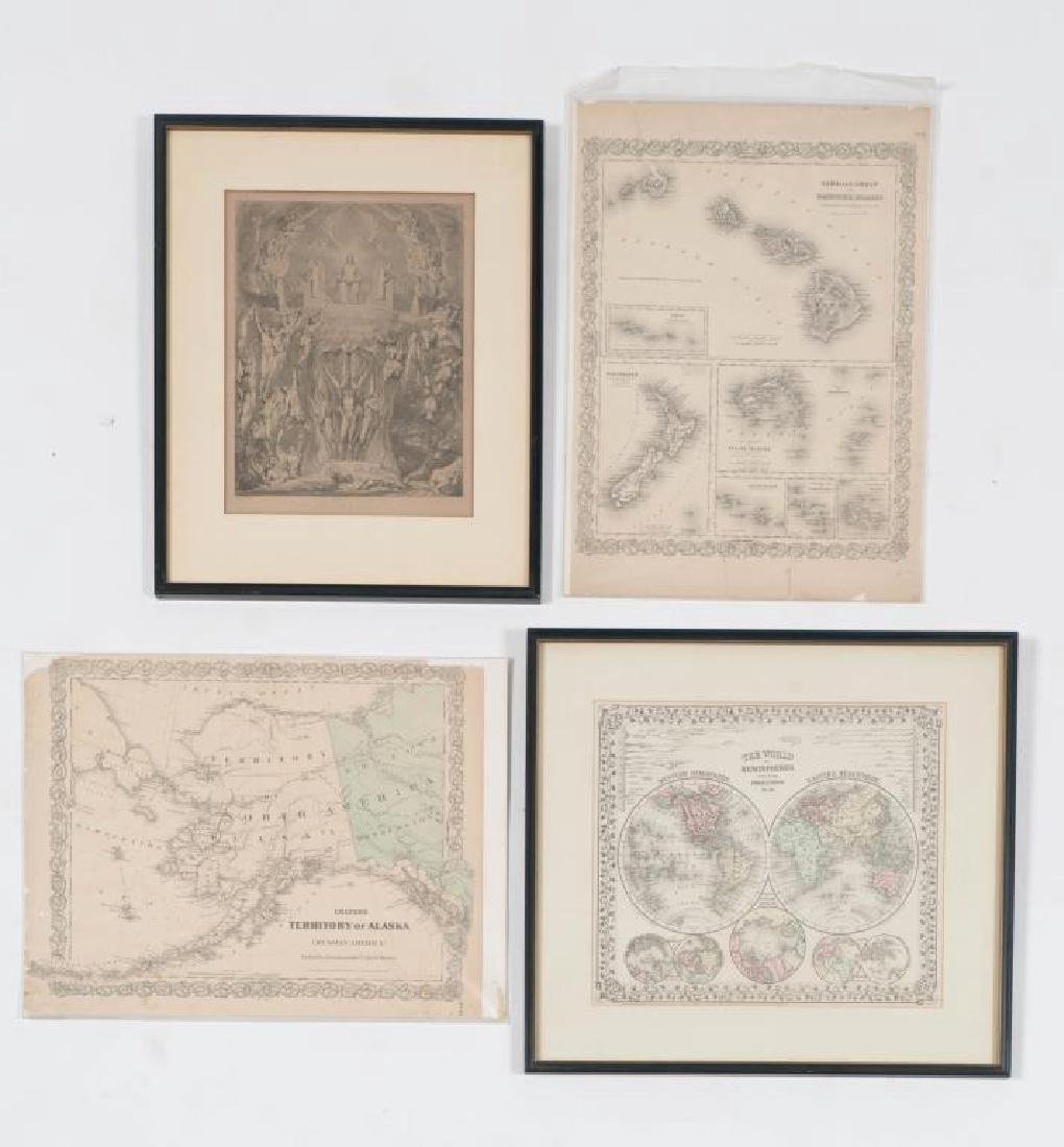 (3) EARLY MAPS and a PRINT AFTER WILLIAM BLAKE