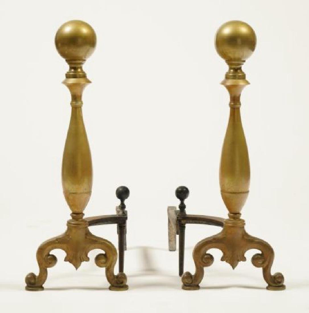 PAIR OF (Early 20th c) CAST BRASS ANDIRONS