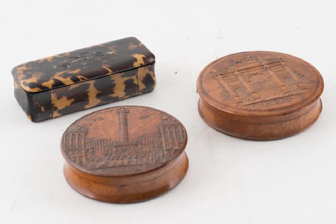 (2) FRENCH PRESSED WOOD SNUFF BOXES AND A THIRD