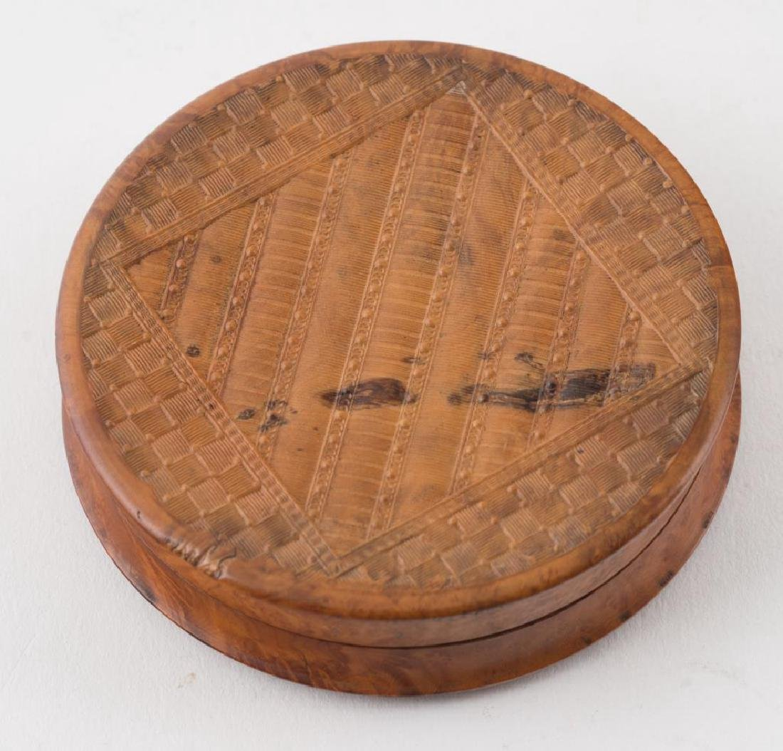 (2) FRENCH PRESSED WOOD SNUFF BOXES AND A THIRD - 2