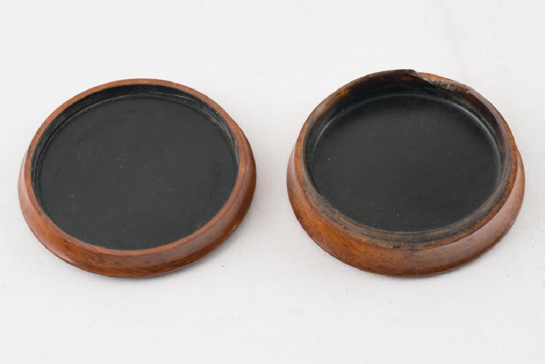 (2) FRENCH PRESSED WOOD SNUFF BOXES AND A THIRD - 6