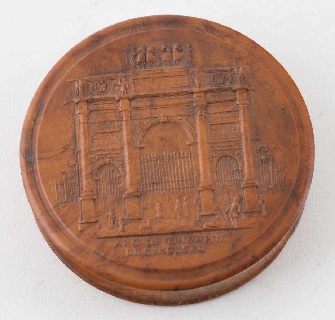 (2) FRENCH PRESSED WOOD SNUFF BOXES AND A THIRD - 7