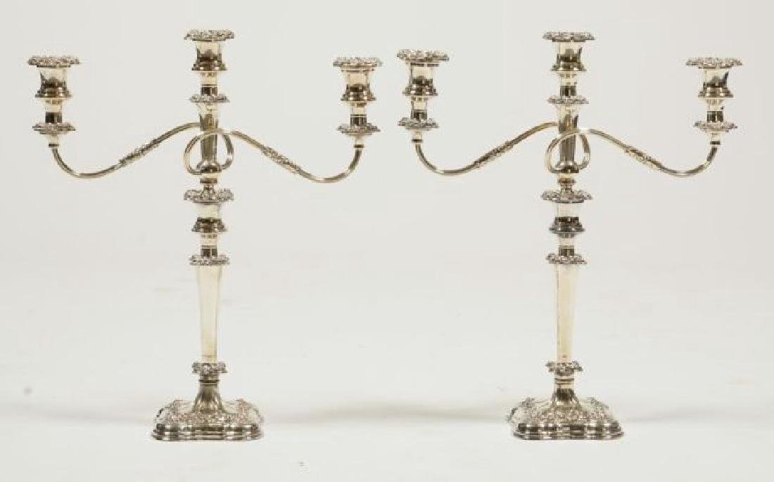 PAIR OF SHEFFIELD SILVER PLATED CANDELABRAS