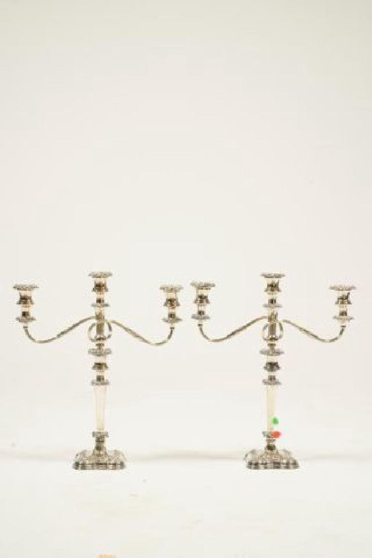 PAIR OF SHEFFIELD SILVER PLATED CANDELABRAS - 5
