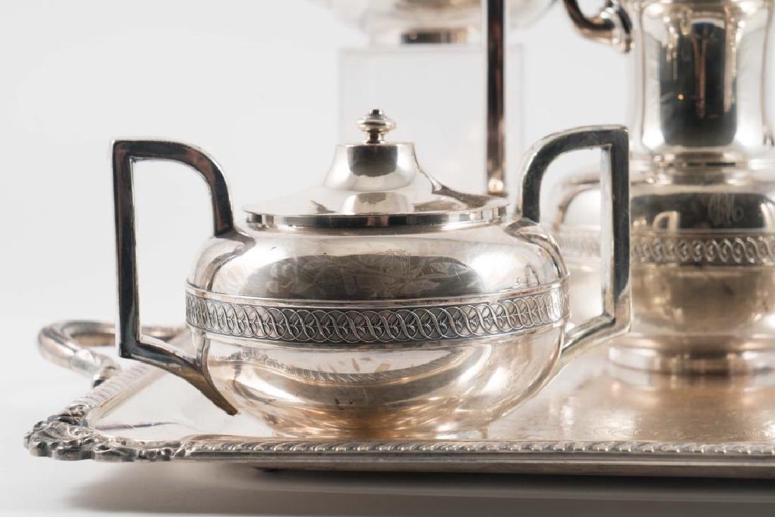 (5) PIECE GORHAM SILVER SOLDERED TEA SET with TRAY - 4