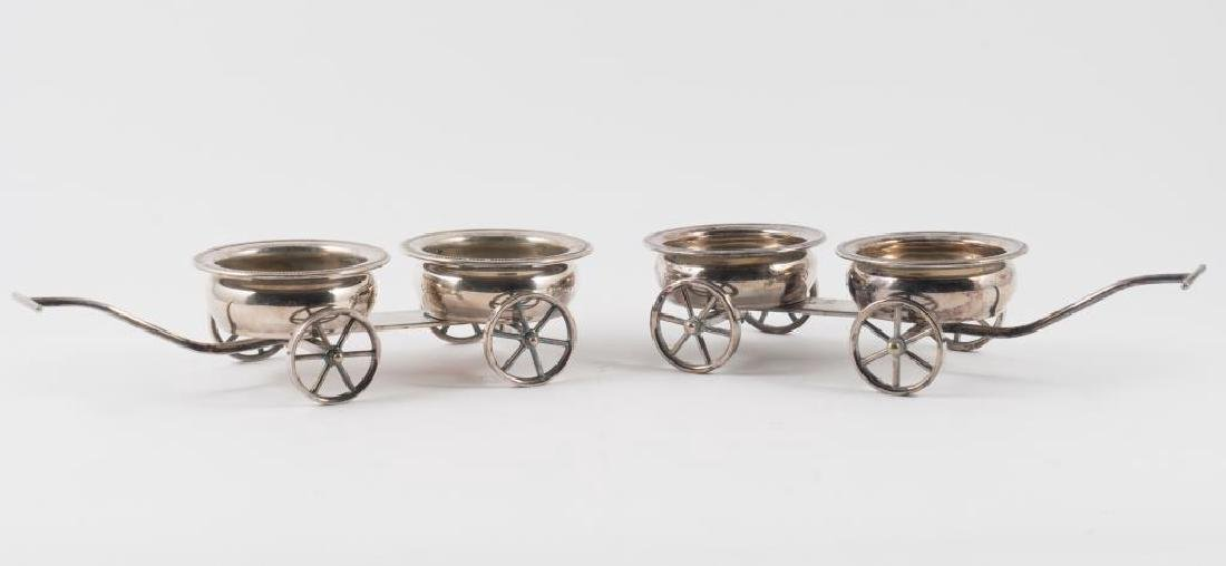 PAIR OF ROGERS SILVER PLATED DECANTER WAGONS