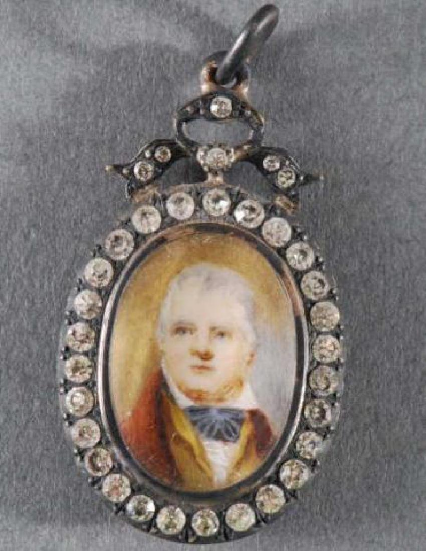 (Early 19th c) ENGLISH PORTRAIT MINIATURE PENDANT