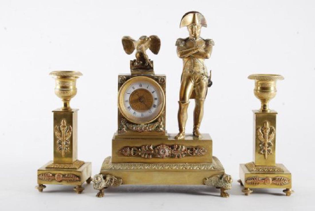 FRENCH GILT BRONZE FIGUERAL MANTLE SET w/ NAPOLEON