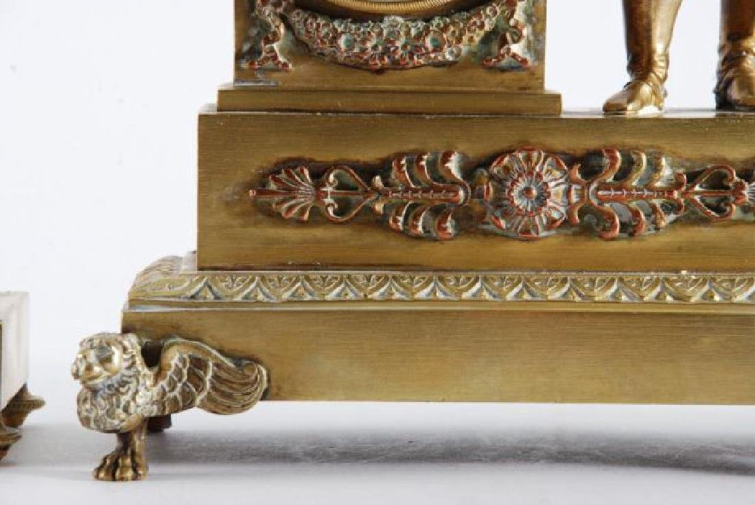FRENCH GILT BRONZE FIGUERAL MANTLE SET w/ NAPOLEON - 6