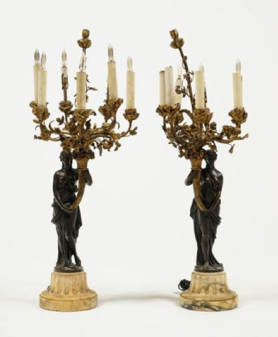PAIR OF FIGURAL BRONZE and MARBLE CANDELABRAS
