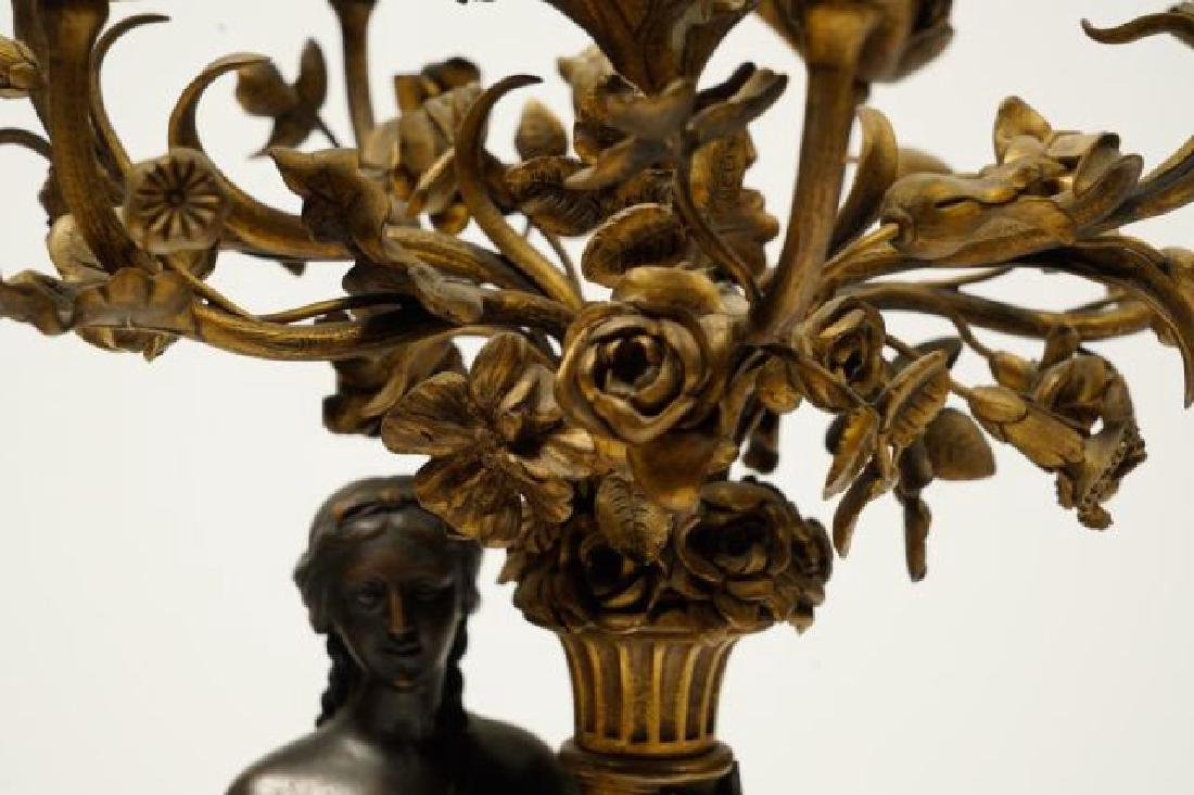 PAIR OF FIGURAL BRONZE and MARBLE CANDELABRAS - 2