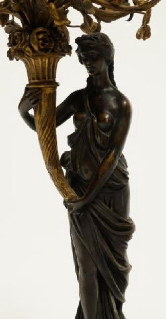PAIR OF FIGURAL BRONZE and MARBLE CANDELABRAS - 3