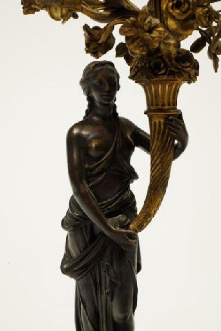 PAIR OF FIGURAL BRONZE and MARBLE CANDELABRAS - 4