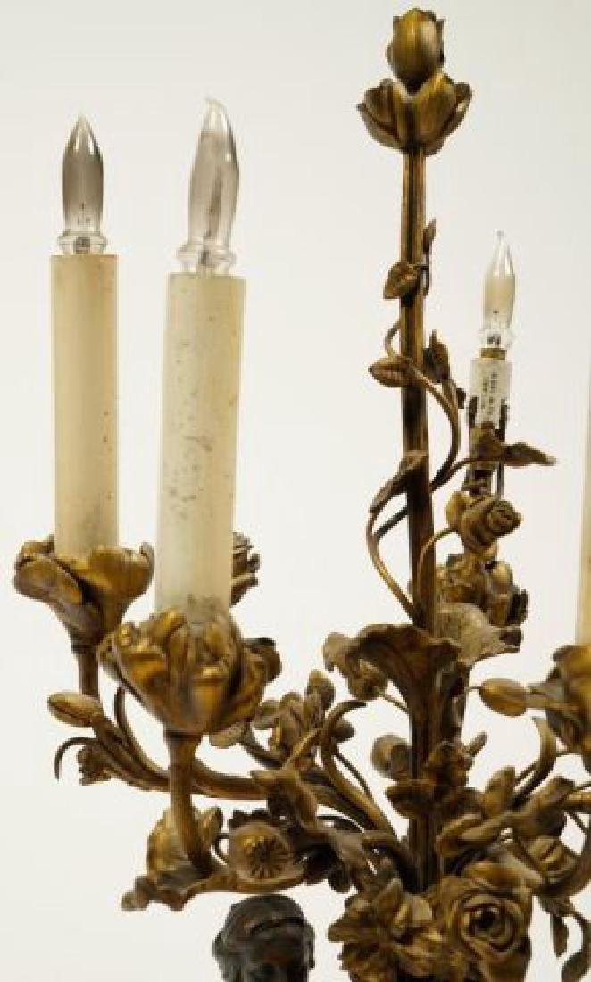 PAIR OF FIGURAL BRONZE and MARBLE CANDELABRAS - 7