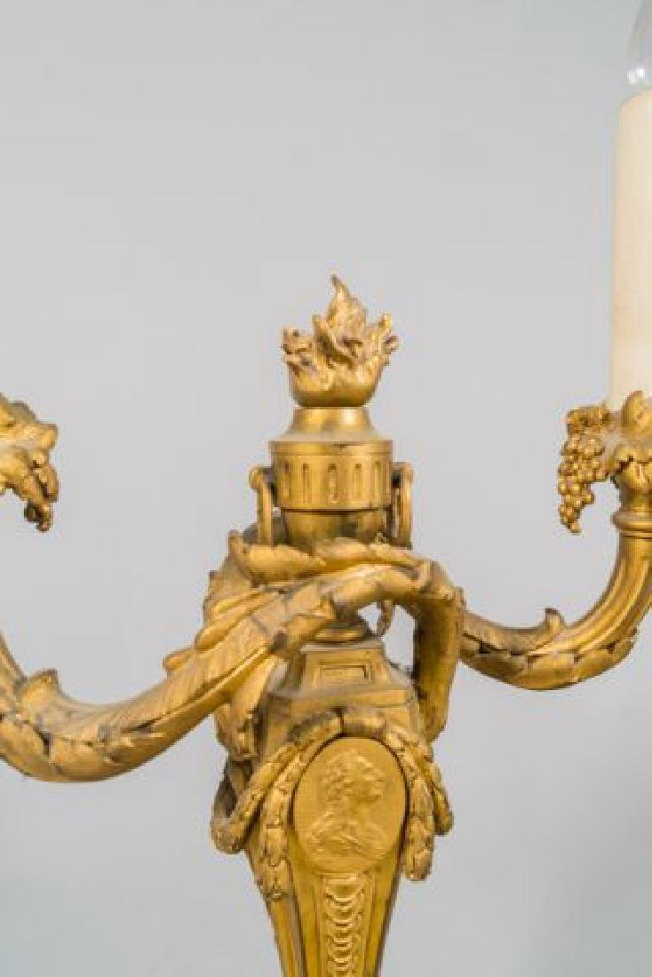PAIR OF FRENCH GILT BRONZE CANDLESTICKS / GAGNEAU - 3
