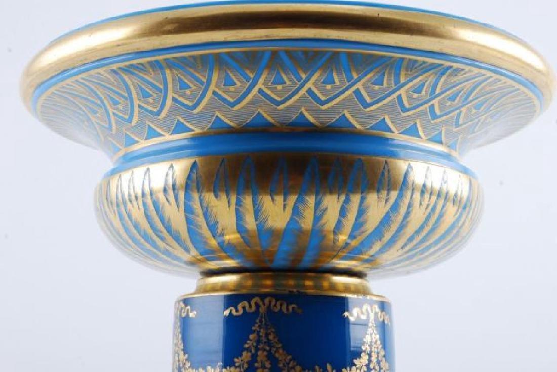 FRENCH GILT BLUE OPALINE GLASS CENTERPIECE - 2
