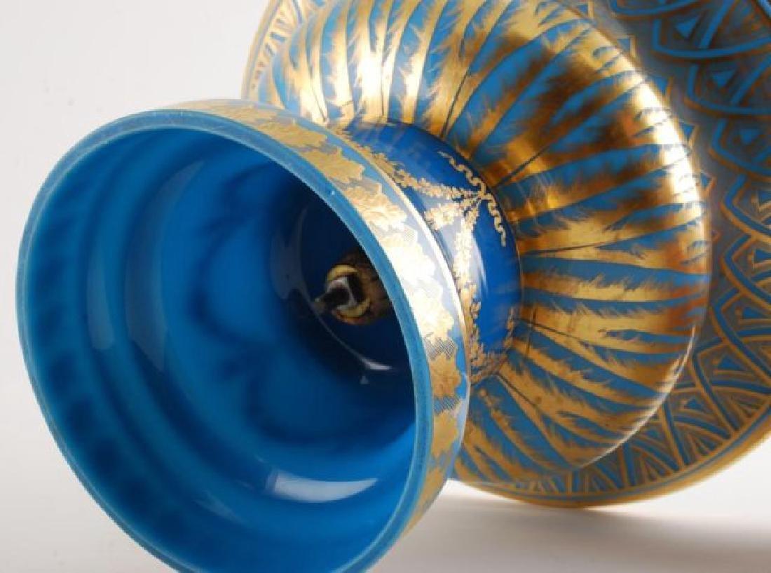 FRENCH GILT BLUE OPALINE GLASS CENTERPIECE - 3