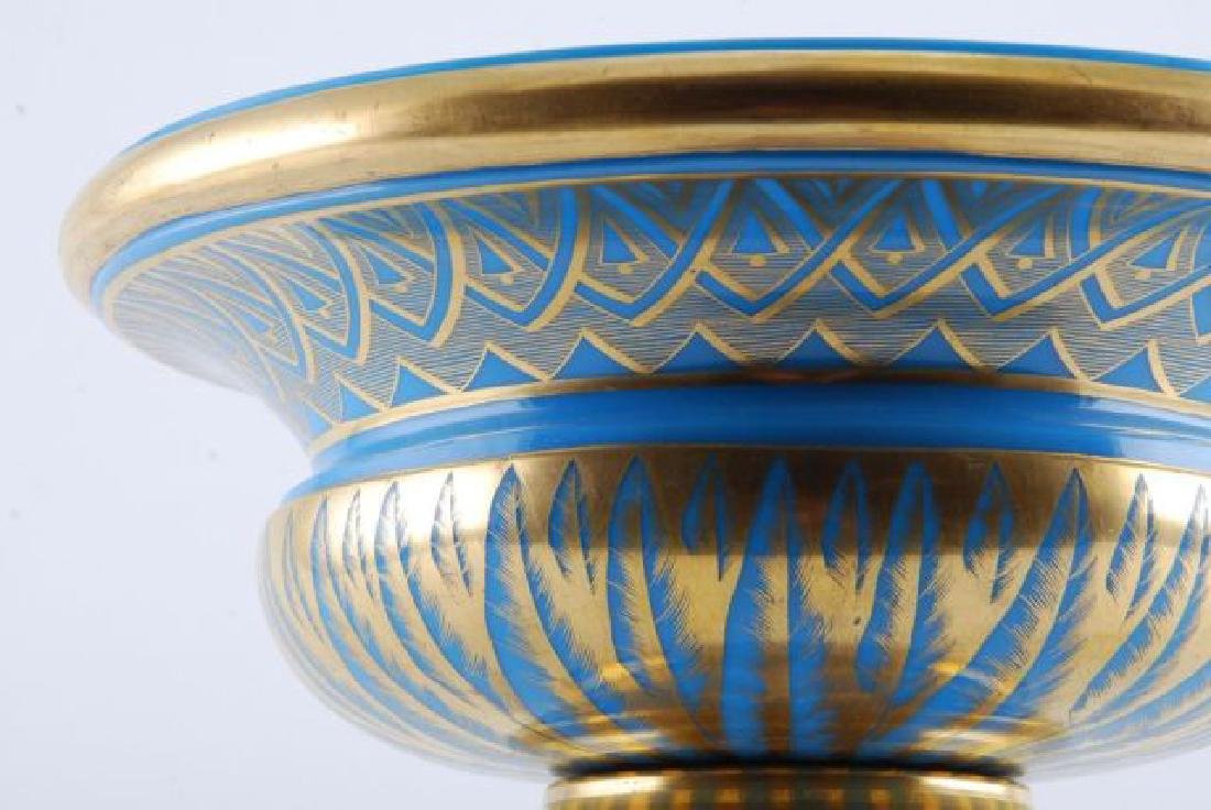 FRENCH GILT BLUE OPALINE GLASS CENTERPIECE - 4