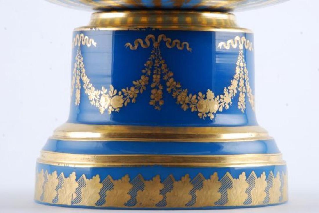 FRENCH GILT BLUE OPALINE GLASS CENTERPIECE - 5