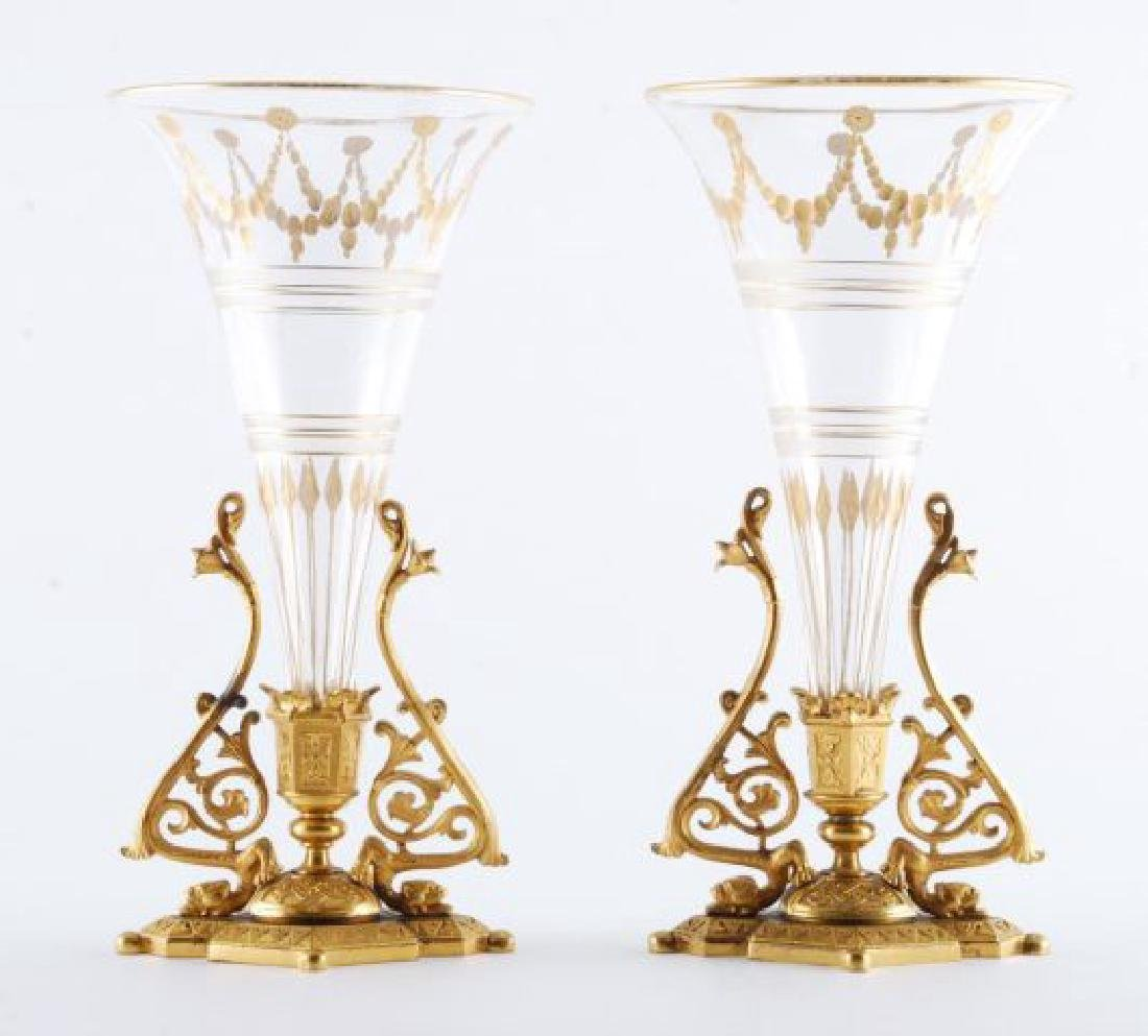 PAIR OF 19th c GILT BRONZE BUD VASES