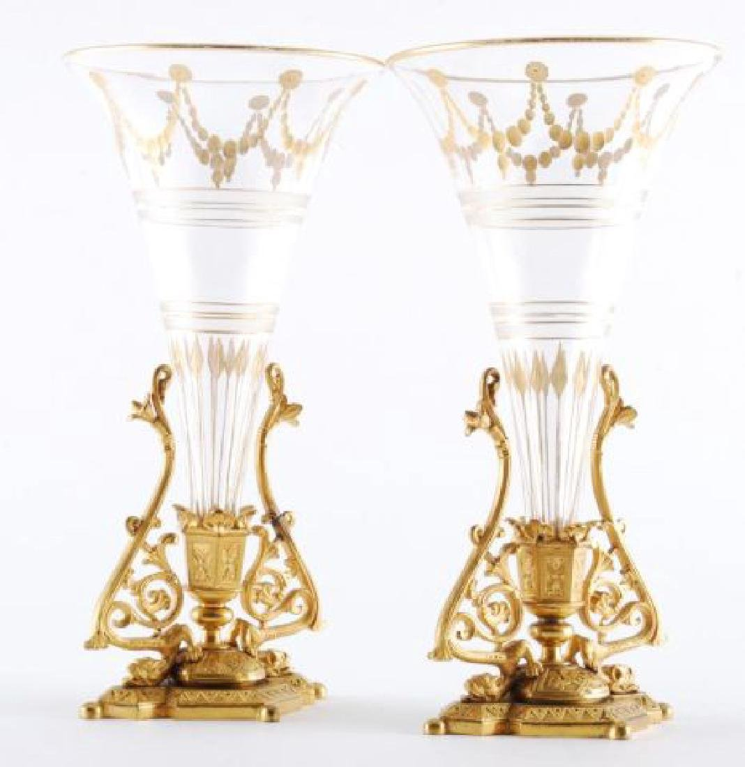 PAIR OF 19th c GILT BRONZE BUD VASES - 3