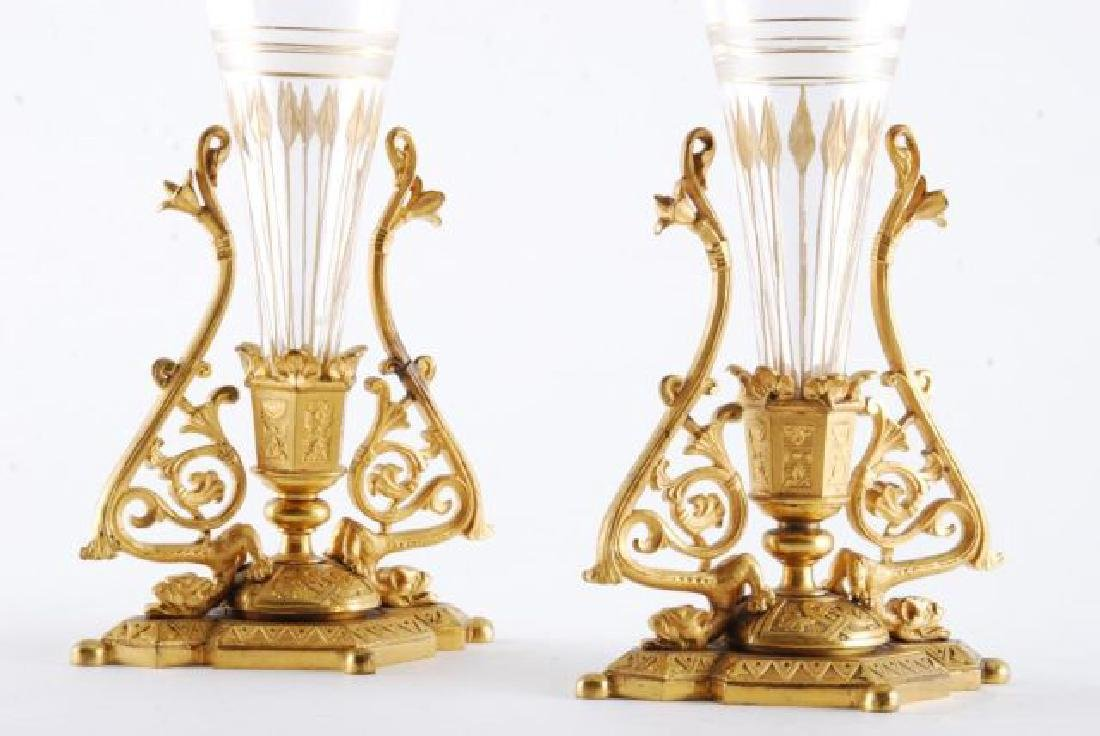 PAIR OF 19th c GILT BRONZE BUD VASES - 4