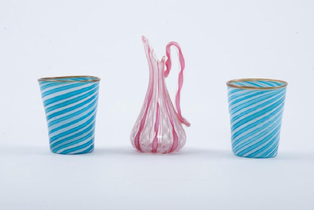 VENETIAN GLASS RIBBON SWIRL CUPS and PITCHER