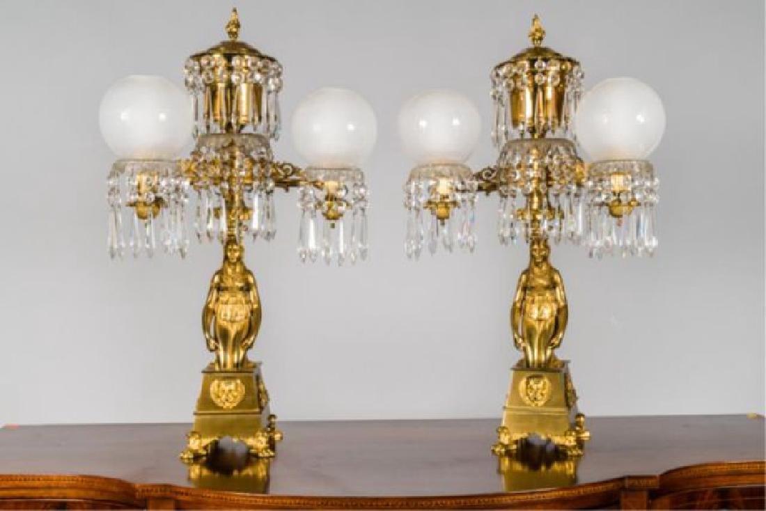 PAIR OF JOHNSTON & BROOKS EGYPTIAN REVIVAL LAMPS