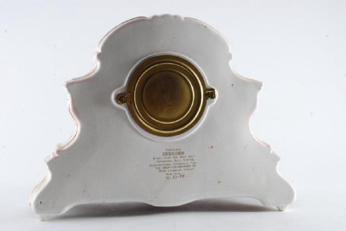 DRESDEN POCELAIN SHELF CLOCK w/ ANSONIA MOVEMENT - 10