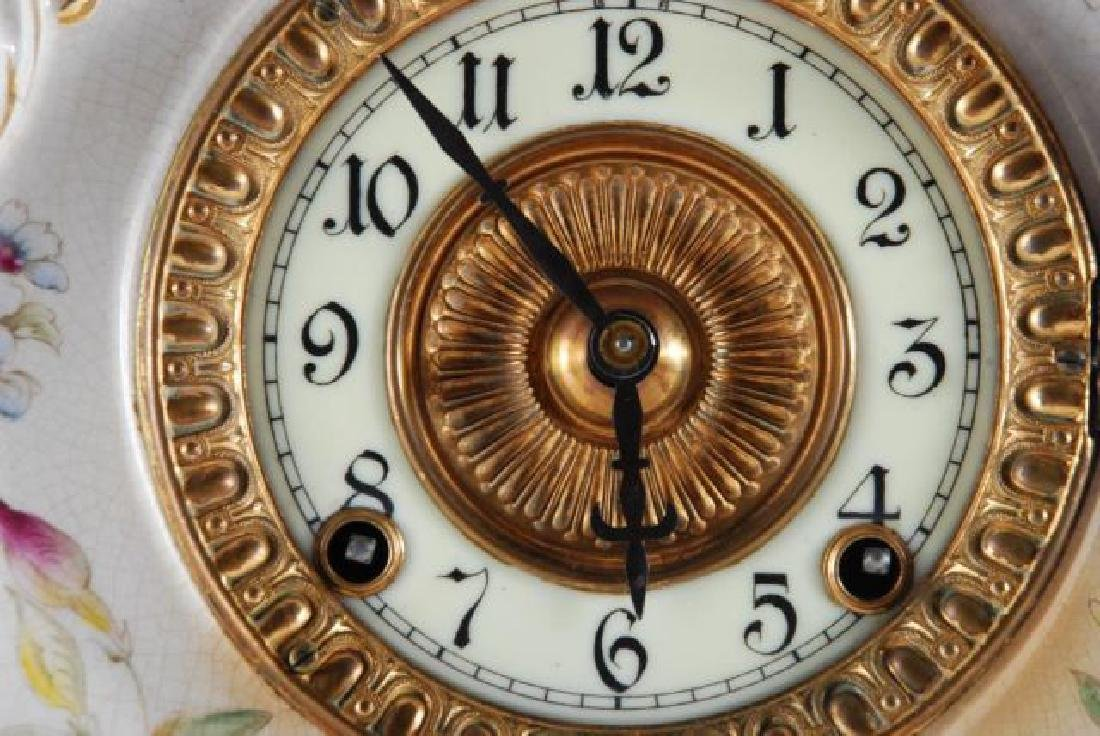 DRESDEN POCELAIN SHELF CLOCK w/ ANSONIA MOVEMENT - 7