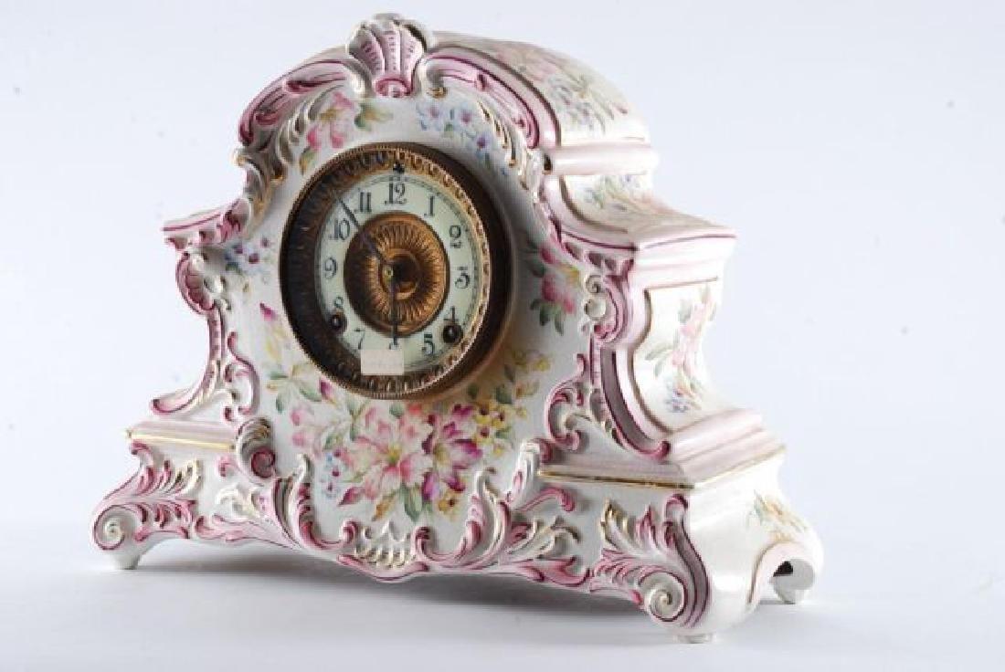 DRESDEN POCELAIN SHELF CLOCK w/ ANSONIA MOVEMENT - 8