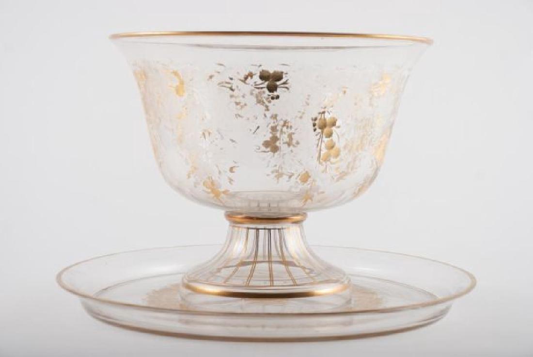 BOHEMAIN ENGRAVED GOLD ENAMEL CRYSTAL PUNCH SET - 3