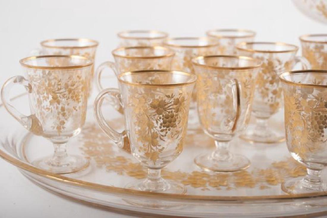 BOHEMAIN ENGRAVED GOLD ENAMEL CRYSTAL PUNCH SET - 7