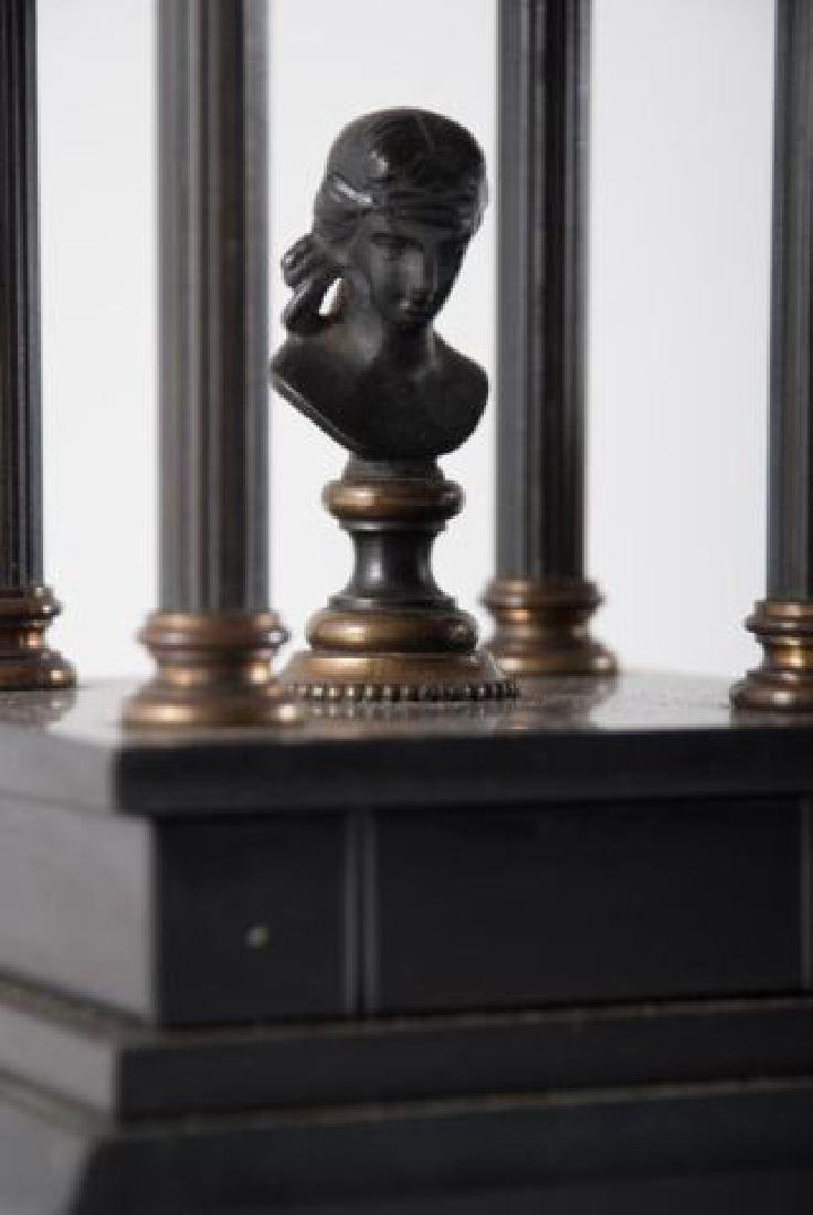 PAIR OF BRONZE & ONYX MINIATURE FOLLIES w BUSTS - 2