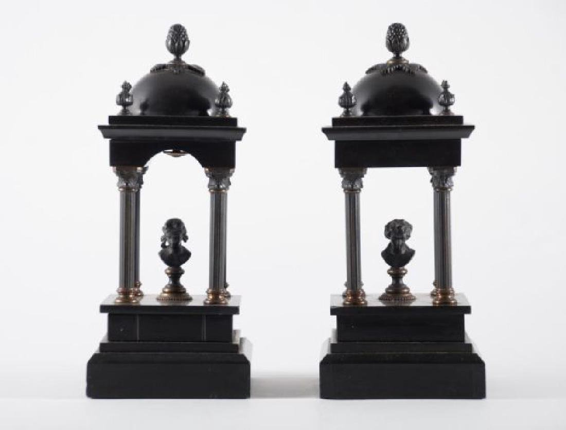 PAIR OF BRONZE & ONYX MINIATURE FOLLIES w BUSTS - 7