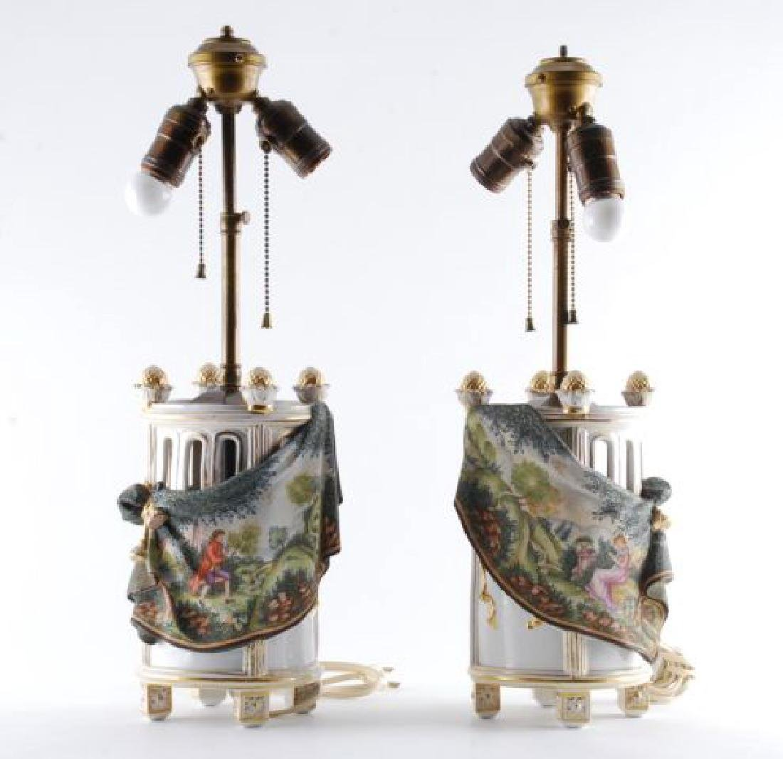 PAIR OF TAPESTRY PORCELAIN TABLE LAMPS