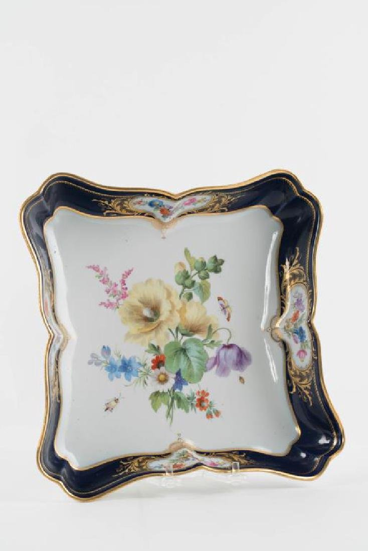 (2) MEISSEN HAND PAINTED PORCELAIN SERVING DISHES - 10