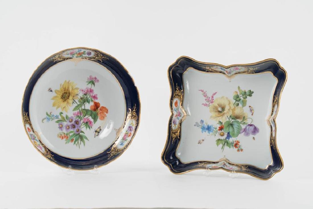(2) MEISSEN HAND PAINTED PORCELAIN SERVING DISHES